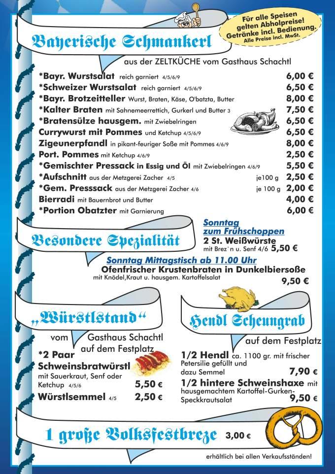Speisen und Getränke- Wallerfinger Volksfest